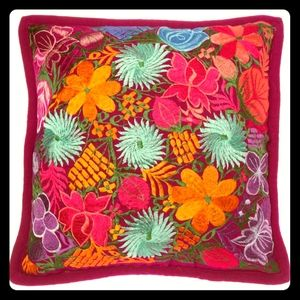 2 Mexican Handmade Pillow Silk Embroidery (1 pair)